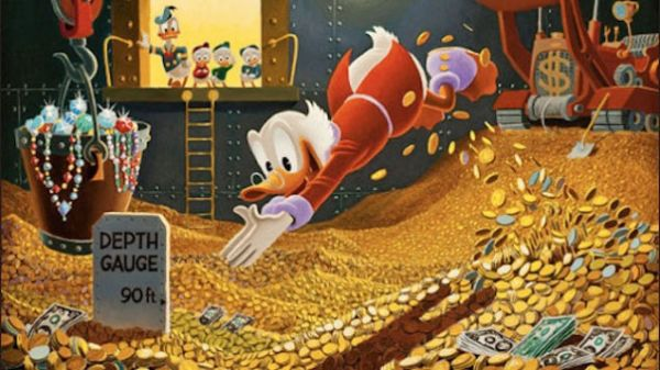 scrooge swimming in money